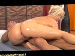 Slippery nuru massage blonde takes cum on the table