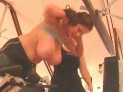 incredible big boobs in public gym