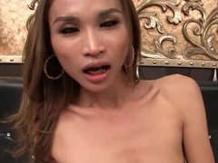 Asian shemale getting a cock in her asshole