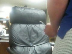 Huge cumshot on leather chair