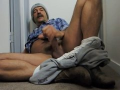 Moustache daddy jerking