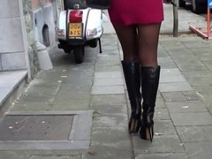 teen in slutoutfit in the street belgium & upskirt&pantyhose