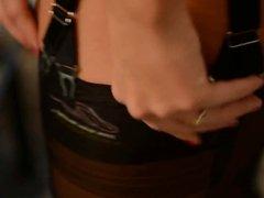 lingerie -nylon encasement: La perla garterbelt & stockings