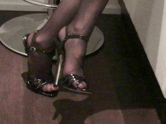 black sandals heels & stockings