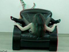 Perfect teen girl posing nude - 3D backstage