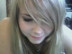 Cute blonde girl strips on cam