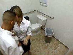 Amateur bitch service a cock in public toilet
