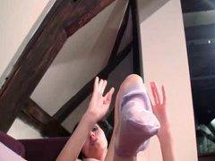 Brunette Babe Amy Nylon Foot Tease