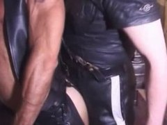 Smoking Leather Cop and His Buddy
