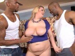 Sexy Blonde Amazon Takes on 2 BBCS