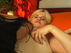 two blonde and brunette bbw lesbian with toy