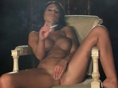 Hot Sexy Brunette Smoking and Solo Playing