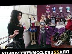 Stunning brunette cougar Veronica Avluv fucks a store cashie