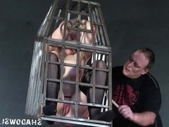 Caged blonde teen submissive Little Miss Chaos whipped