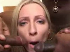 White Blonde Gal Pleases Many Hungry BBC