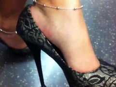 High Heel Dangle on the London Underground Train