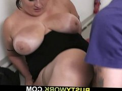 Busty bitch gets slamed at workplace