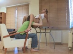 Slim Babe Fucked on table