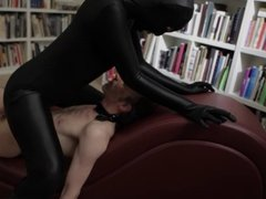 Girl in catsuit fuck a man