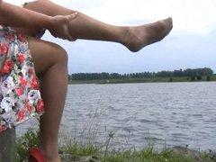 NYLON LEGS IN COUNTRYSIDE