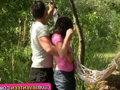 Shaved teen pussy fucked outdoors