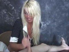 Femdom Handjob By A Blonde