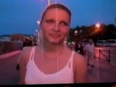 Cute Girl Public Facial Cum Walk