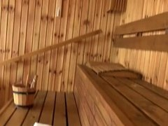POV Blowjob And Footjob In the Sauna
