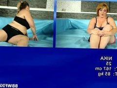 Hot BBW girls in a nude wrestling action