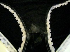 cumming in step daughter's stained black panty
