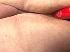 Bi fat sub playing with dildo