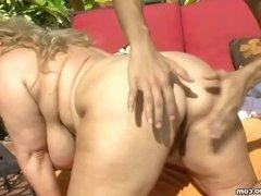 Sexy Big Tit BBW MILF Fucks Hunk Gardner