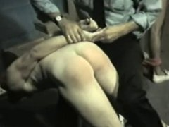 Older Officer is spanking young workers