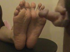 Cum on asian feet