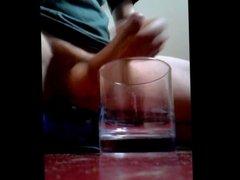 Cum into a glass