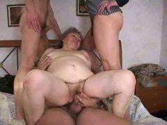 Granny woith 3 Guys
