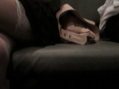 White Stockings upskirt in a train