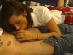 Young beautiful teen blows friend and facialized