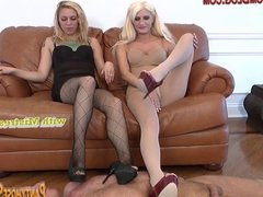 Foot fetish milking face sitting by two blondes