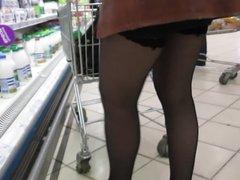 Supermarket stockings upskirt