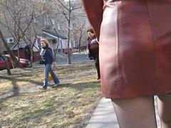 Walking in stockings in a street