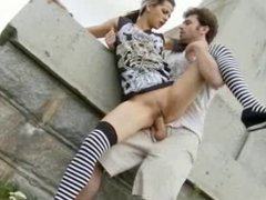 British slut Holly gets fucked outdoors
