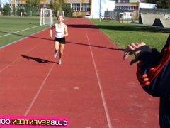 Petite blonde teenie fucked by her trainer