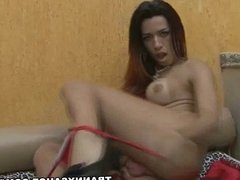 Foxy shemale hottie Patricia Sabatine tugs her cock
