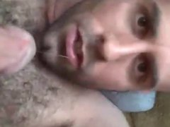 Eating your own cum: hairy guy