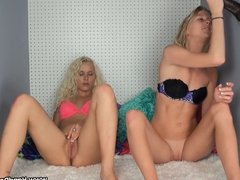 interracial handjob with 2 blondes