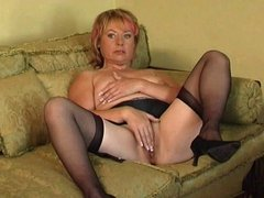 No bra or panties for granny today only stockings