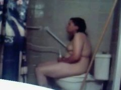 Fat BBW Teen Ex GF cumming in shower with hidden cam