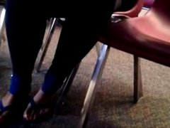 Ebony lady with long toenails in sandals part 2
