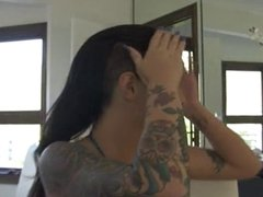 Christy Mack shows off her tattoos and pussy